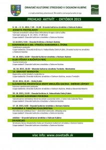 Oravské kultúrne stredisko - prehľad aktivít október @ Dolný Kubín | Dolný Kubín | Žilinský kraj | Slovensko