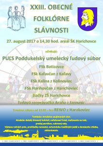 HARICHOVCE - Obecné folklórne slávnosti @ Areál ŠK vHarichovciach, Levočská 13, 053 01 | Harichovce | Slovensko