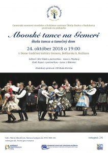 ROŽŇAVA - Abovské tance na Gemeri @ Dom tradičnej kultúry Gemera, Betliarska 8, Rožňava | Košický kraj | Slovensko